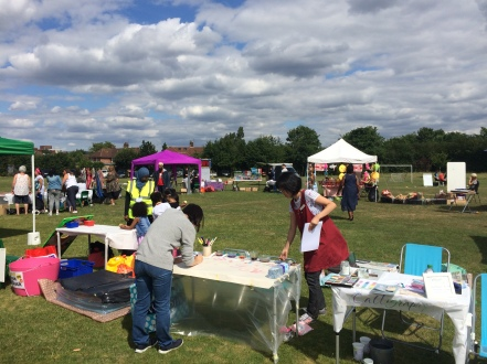West Acton Summer Fayre calligraphy stand